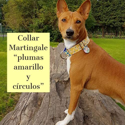"""Collar Martingale """"plumas amarillo y círculos"""""""