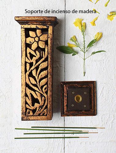 soporte de incienso de madera